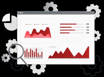 Ilustración de programa de estadísticas y bases de datos
